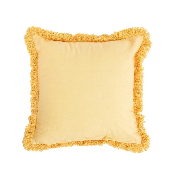 Coussin frangé en coton jaune déhoussable 40 x 40 cm 663085