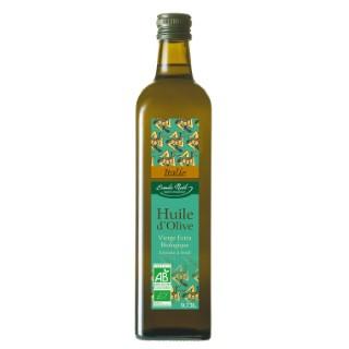 Huile d'olive d'Italie bio en bouteille de 750 ml