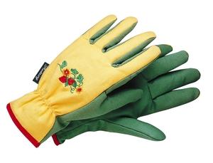 Gants de jardinage femme broderie fleurs et fraises T. 6