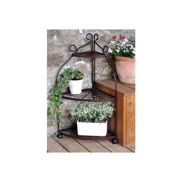 tag re plantes d 39 angle sur roulettes fer vieilli d coration balcon et terrasse balcon. Black Bedroom Furniture Sets. Home Design Ideas