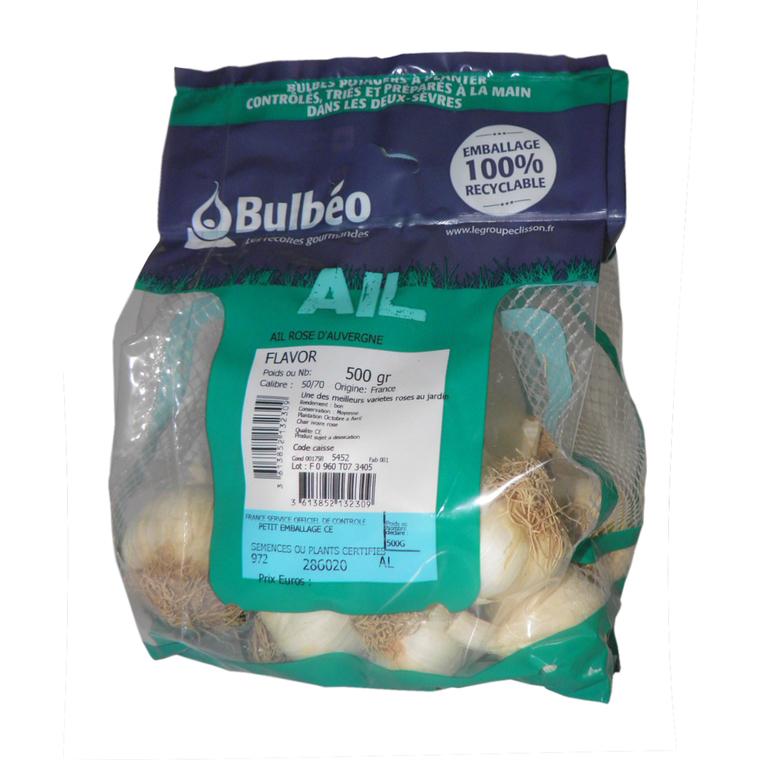 Bulbes d'ail rose flavor calibre 50+, 500 g