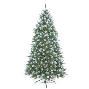 Sapin de Noël artificiel vert givré avec pommes de pin 155 cm