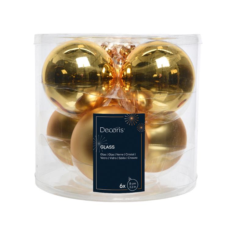 Boite de 6 boules de couleur or clair brillant et mat – Ø 8 cm 97190