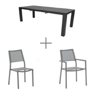 Ensemble Ice: 1 table, 6 chaises et 2 fauteuils