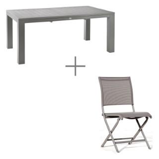 Ensemble repas : 1 table Aurore et 6 chaises Elégance