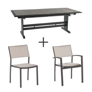 Ensemble repas Pol : 1 table, 6 chaises et 2 fauteuils
