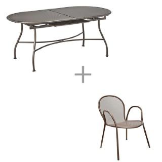 Ensemble repas bronze : 1 table Evo et 6 fauteuils Ronda