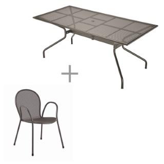 Ensemble repas : 1 table Athéna et 6 fauteuils Ronda