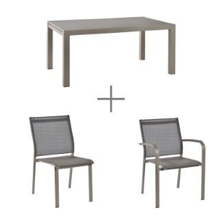 Ensemble repas Agate. Table + 4 chaises + 2 fauteuils