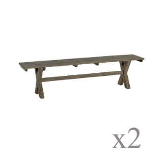 Lot de 2 bancs Campagne