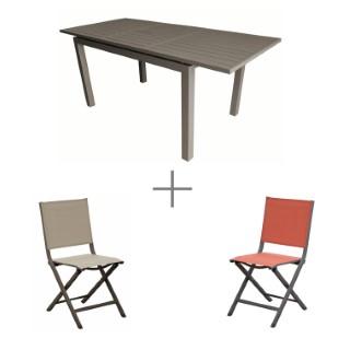 Ensemble repas avec 1 table Caméline extensible  130/180 cm et 6 chaises Max