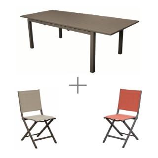 Ensemble repas avec 1 table Caméline extensible  200/280 cm et 6 chaises Max