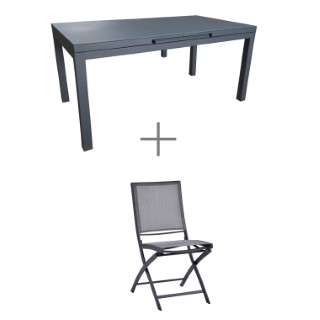 Ensemble repas Carlina anthracite avec 1 table extensible 157/210 cm et 6 chaises