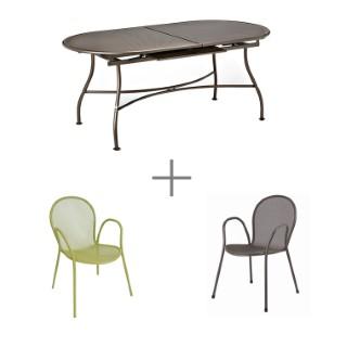 Ensemble repas Evo avec 1 table extensible 180/240 cm bronze, 4 fauteuils verts et 2 bronze