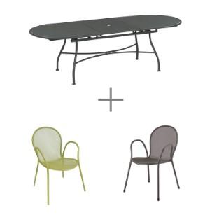 Ensemble repas Evo avec 1 table extensible 180/240 cm grise, 4 fauteuils verts et 2 gris