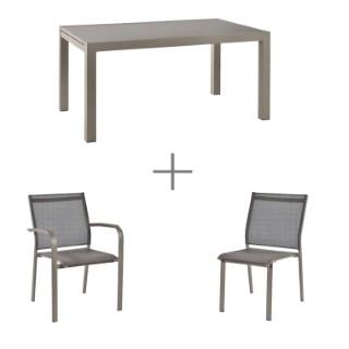 Ensemble repas AGATE champagne avec 1 table extensible 152/228 cm , 4 chaises et 2 fauteuils