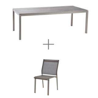 Ensemble repas AGATE champagne avec 1 table 220 cm et 6 chaises