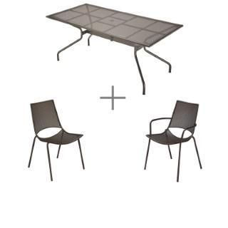 Ensemble repas bronze avec 1 table Athéna 180 cm, 6 chaises et 2 fauteuils ALA