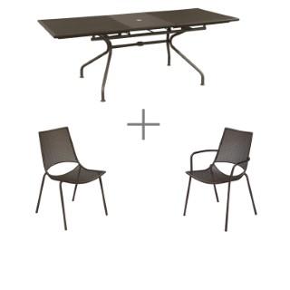 Ensemble repas bronze avec 1 table  ATHENA extensible 160/210 cm, 6 chaises et 2 fauteuils ALA
