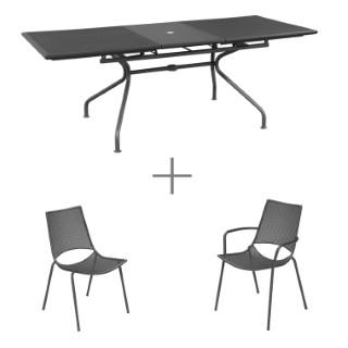 Ensemble repas Gris avec 1 table  ATHENA extensible 160/210 cm, 6 chaises et 2 fauteuils ALA
