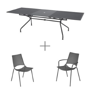 Ensemble repas gris avec 1 table  ATHENA extensible 230/300 cm, 8 chaises et 2 fauteuils ALA
