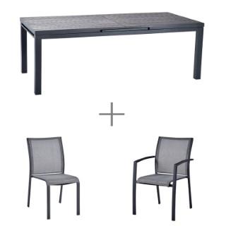 Ensemble repas Carlina avec une grande table Carlina grise aluminium, 6 chaises et 2 fauteuils