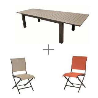 Ensemble repas avec une grande table Caméline couleur café, 5 chaises pliantes Elegance et 5 chaises de jardin Elegance