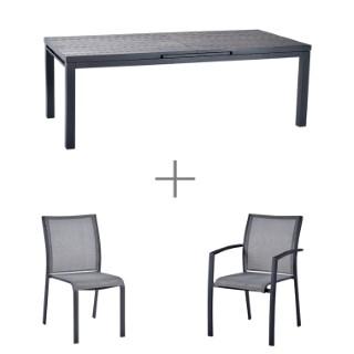 Ensemble repas avec une table Carlina grise en aluminium 220cm, 6 chaises Carlina grises et 2 fauteuils Carlina gris.