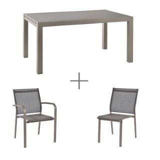 Ensemble repas avec une table Agate de couleur Champagne, 6 chaises et 2 fauteuils Agate.