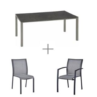 Ensemble repas gris avec 1 pied de table, 1 plateau de table, 8 chaises et 2 fauteuils CARLINA