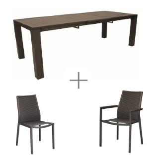 Ensemble repas avec une table Silene rectangulaire, 6 chaises et 2 fauteuils Silene.