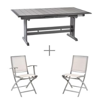 Ensemble repas avec une table extensible Managua, 6 chaises et 2 fauteuils pliants Keneah.