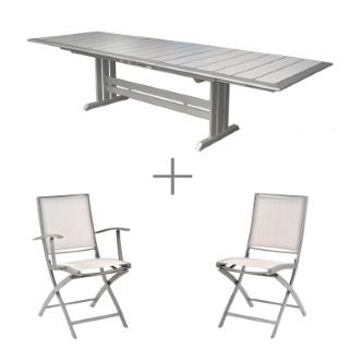 Ensemble repas avec une grande table extensible Managua, 8 chaises et 2 fauteuils pliants Keneah.
