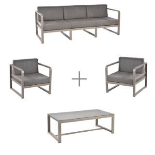 Ensemble Salon Bas Agate avec une banquette 3 places, 2 fauteuils bas et 1 table basse