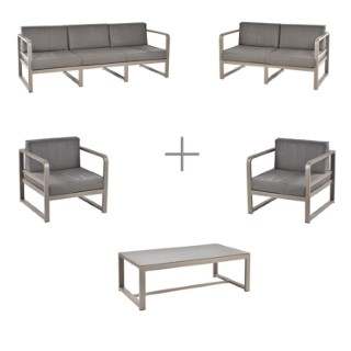Ensemble Salon Bas Agate avec deux banquettes, 2 fauteuils bas et 1 table basse