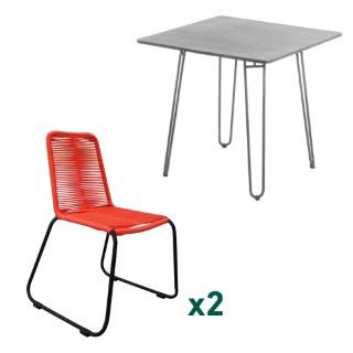 Ensemble repas composé d'une table de jardin carrée et de 2 chaises L000163