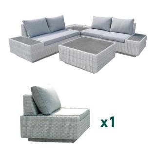 Salon bas Capella avec fauteuil en aluminium, résine tressée et fibre-ciment L000165