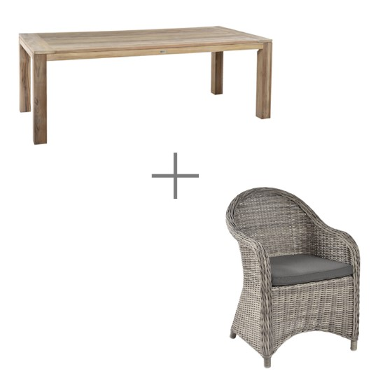 Ensemble repas Altéa : 1 table et 6 fauteuils