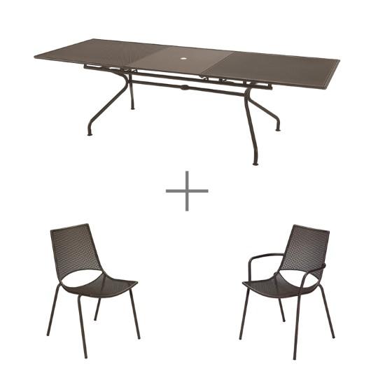 Ensemble repas bronze avec 1 table  ATHENA extensible 230/300 cm, 8 chaises et 2 fauteuils ALA