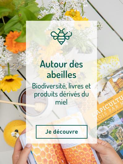 Découvrez notre univers autour des abeilles : matériel d'apiculture, produits bien-être ou alimentaires autour du miel, plantes pour favoriser la biodiversité, etc. Je découvre !
