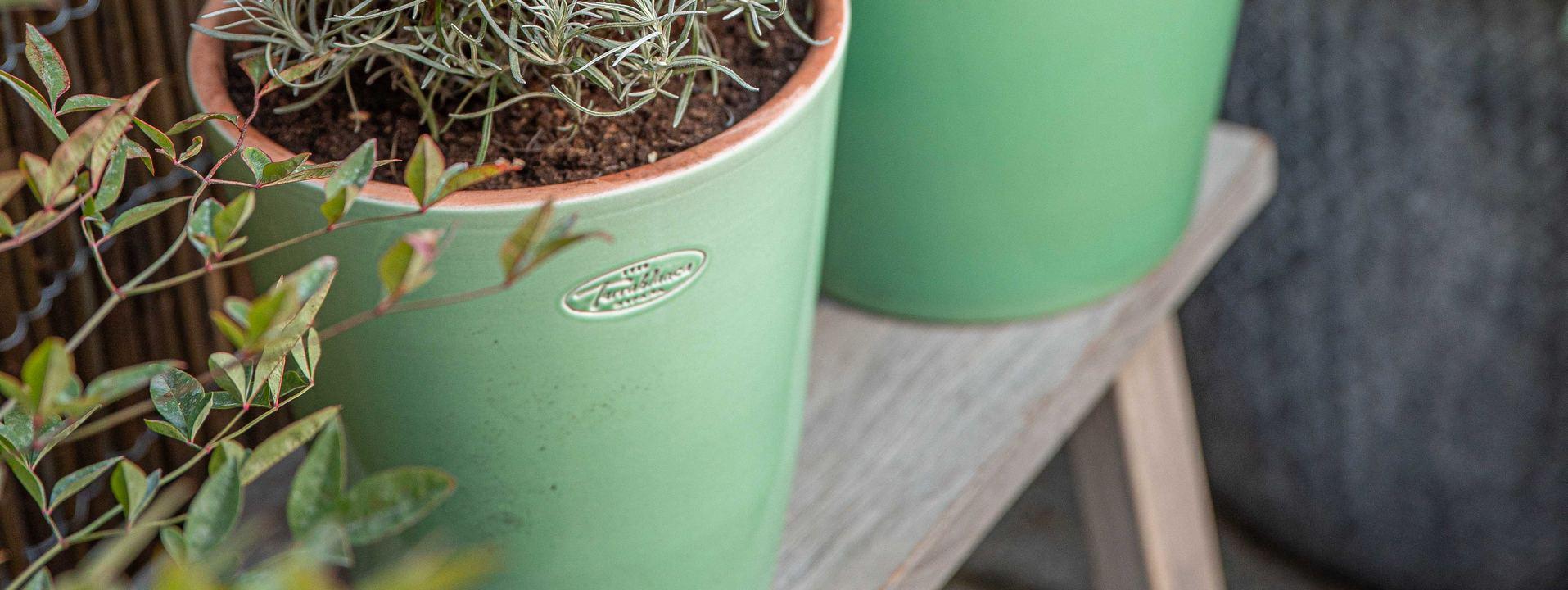 Pots en terre cuite émaillée