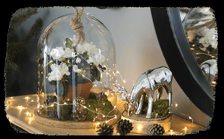 DIY esprit de Noël : une fleur sous cloche !