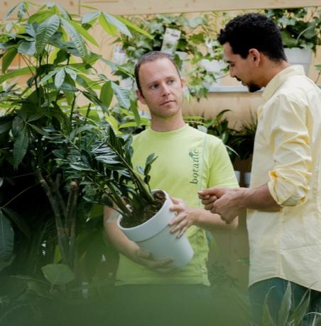 Conseiller botanic avec un client