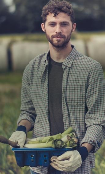 homme dans un champ avec un pot de poireaux