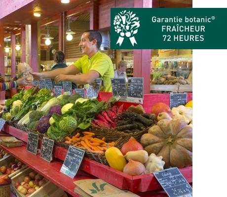 Étal marché bio de botanic
