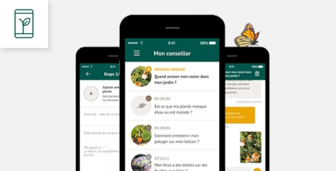 Écrans de téléphone avec des captures de l'application botanic®